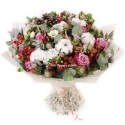 """Букет """"Ранкова посмішка"""" з фрезою, троянд і бавовни"""