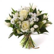 """Букет """"Белая звезда"""" из тюльпанов, хризантемы и розы"""