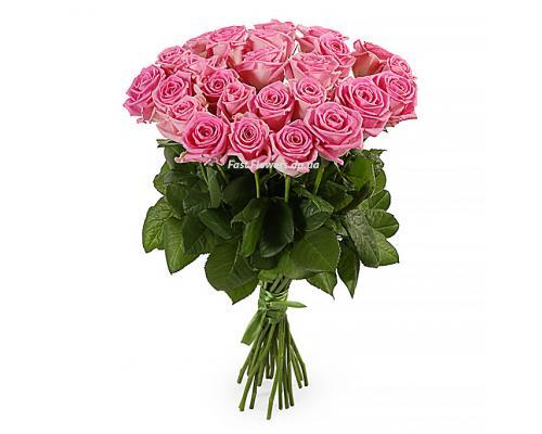 25 розовых роз Аква в букете