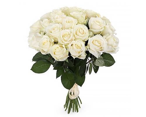 25 білих троянд Аваланч в букеті