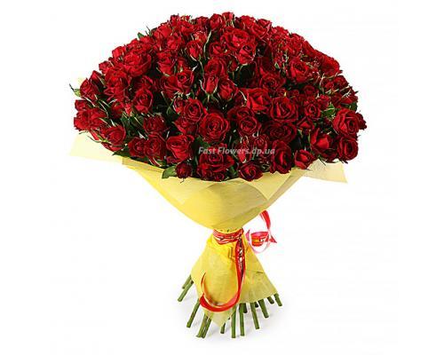 31 ветка красной розы Мирабель