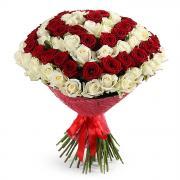 101 троянда колір білий і червоний