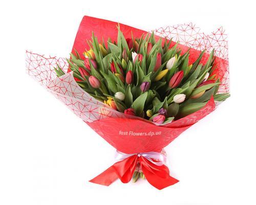 51 разноцветный тюльпан в корейском стиле