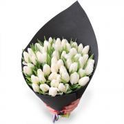 Дизайн букет з 51 білої тюльпана